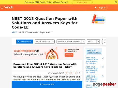 NEET 2018 Question Paper with Solutions for Code-EE