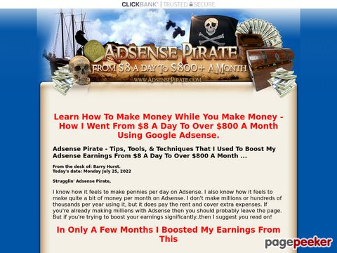 Adsense Pirate - From $8 A Day To $800+ A Month