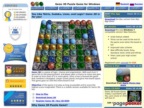 Gems 3D Puzzle Game for Mac and Windows - The Game of Chance and Organization