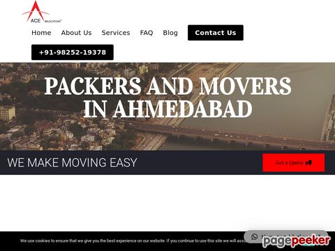 Screeshot of packers and movers in ahmedabad