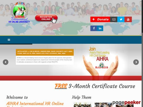 Screeshot of AHIRA Human Rights India Delhi
