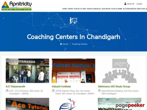 Screeshot of List of Top Coaching Institutes Tricity