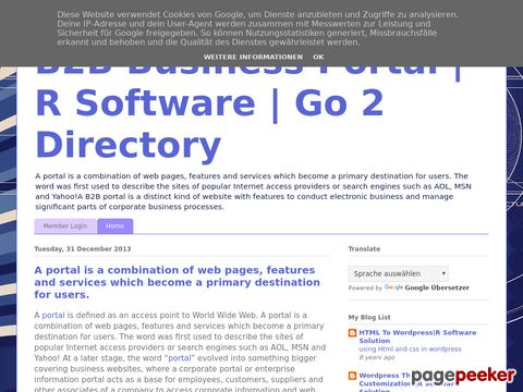 Screeshot of B2B Business Portal | R Software | Go 2 DirectoryA portal is a combination of web pages, features and services which become a primary destination for users. The word was first used to describe the sites of popular Internet access providers or search engi