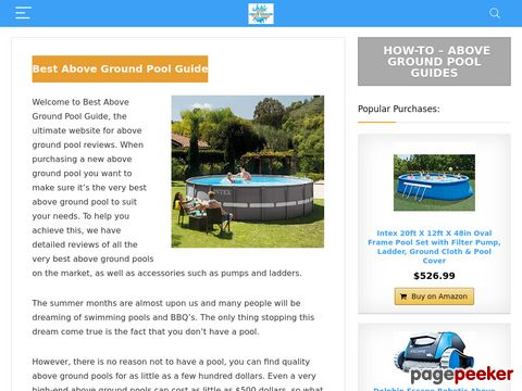 Screeshot of The Very Best Above Ground Pool Evaluations And Information