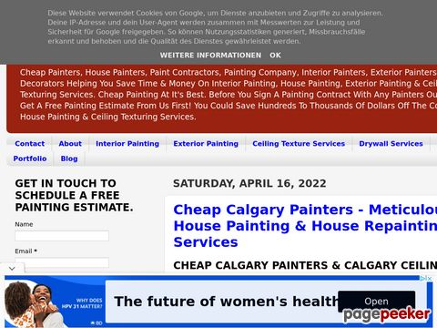 Screeshot of 1/2 Price Pro Calgary Painting