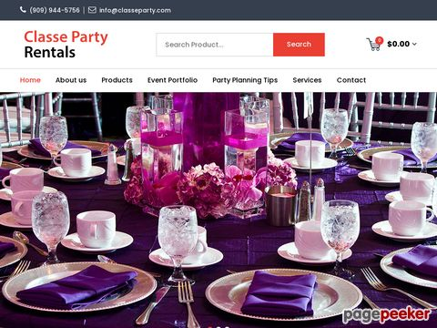 Screeshot of Party Equipment Rentals and Supplies in Rancho Cucamonga