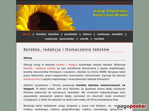 Więcej o stronie : Korektor tekstów - Katarzyna Wróbel