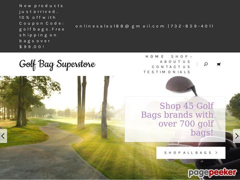 Screeshot of Womens Golf Bags