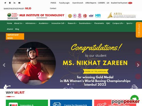 Screeshot of MLR Institute of Technology, Management, Pharmacy and Engineering Colleges in Dundigal, Hyderabad