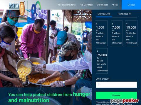 Screeshot of Akshaya Patra Foundation In India Providing Food For Education to 1.3 Million School Children.