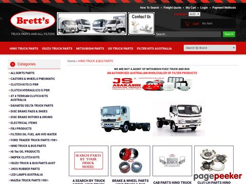 Screeshot of Buy Hino Truck Parts Online