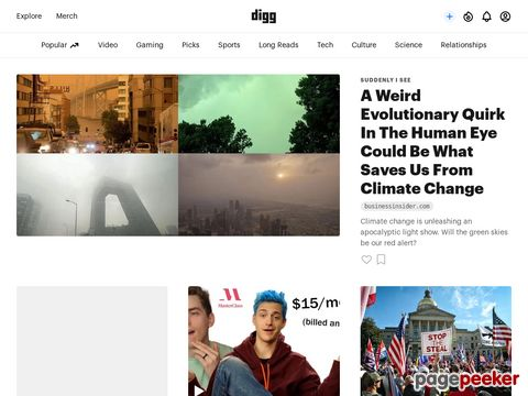 Screeshot of Digg Site Overview