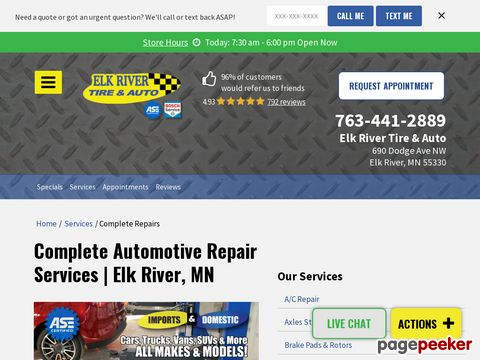 Screeshot of Automotive Service Elk River MN