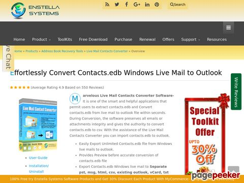 Screeshot of Live Mail Contacts Converter