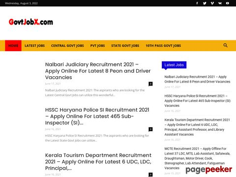 Screeshot of Govtjobx|Hold all the latest news and events regarding upcoming government jobs