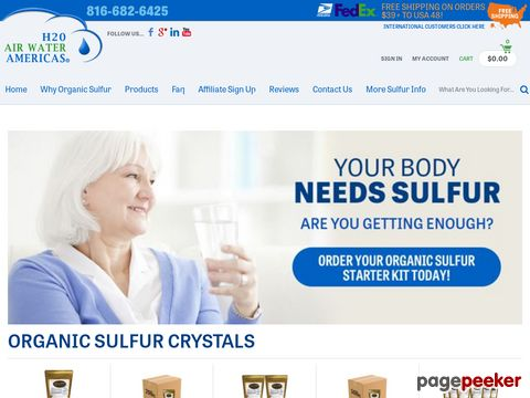 Screeshot of Health Supplement, Water and Air Purification Products - H2O Air Water Americas