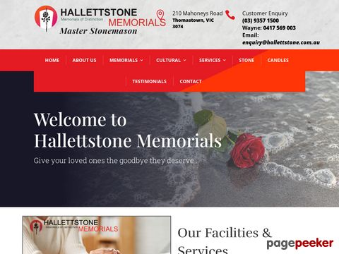 Screeshot of Welcome to Hallettstone we create gravestone inscriptions