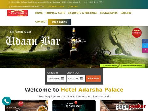 Screeshot of Hotels in belgaum, luxury hotel in belgaum, Business hotels in belgaum, Online room booking in belgaum, Belgaum hotels, Accommodation in belgaum, Budget hotels in belgaum, Room reservation in belgaum, Deluxe hotels in belgaum,  Hotel adarsha palace, adars
