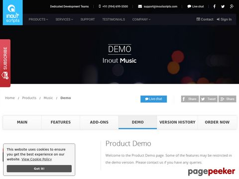 http://www.inoutscripts.com/demo/inout-music/demo/?index1 website snapshot