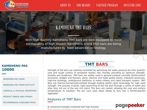 Screeshot of TMT Bars Manufacturers | TMT Saria Suppliers - Kamdhenu Group