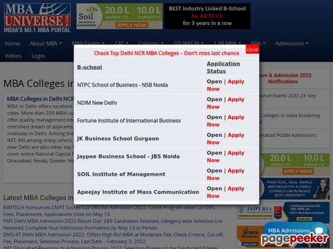 Screeshot of mba colleges in Delhi NCR, List of Top MBA Colleges in Delhi NCR