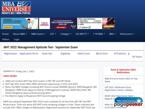 Screeshot of MAT 2015: 6th & 12th September, know registration date