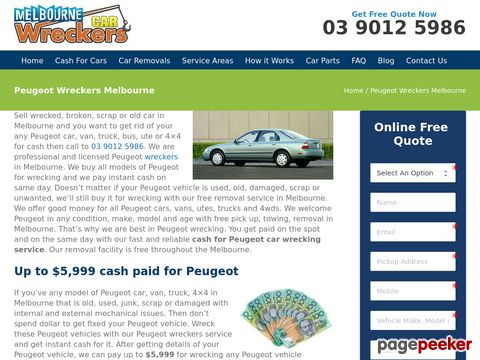 Screeshot of Peugeot Auto Wreckers