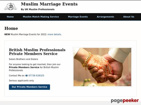 Screeshot of Muslim Marriage Events UK