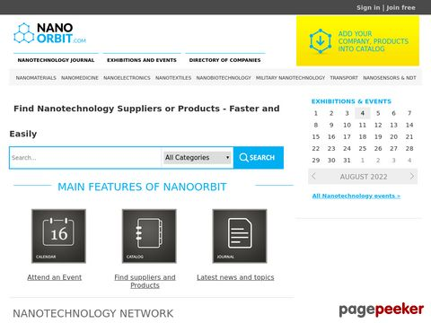 Screeshot of NANOORBIT - Nanotechnology Suppliers, Products, Events
