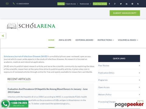 Screeshot of Scholarena Journal of Infectious Diseases