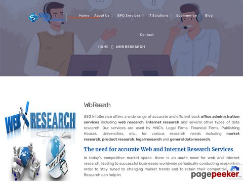 Screeshot of Web Research | Market Research services