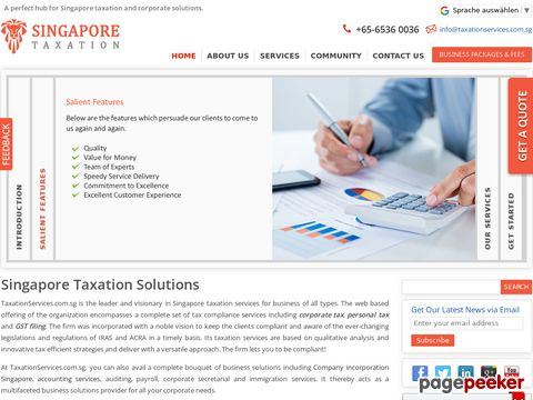 Screeshot of Singapore taxation services, singapore tax online
