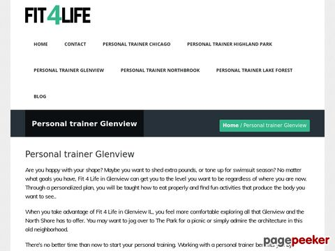 Screeshot of Personal trainer Glenview