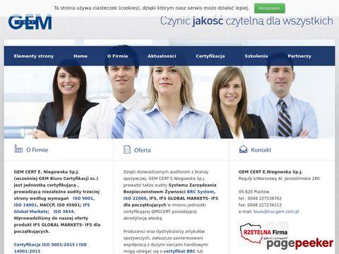 Więcej o stronie : Cetyfikacja ISO - GEM
