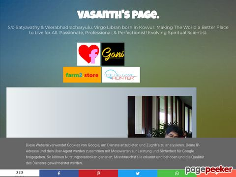 Screeshot of Vasanth's Blog.