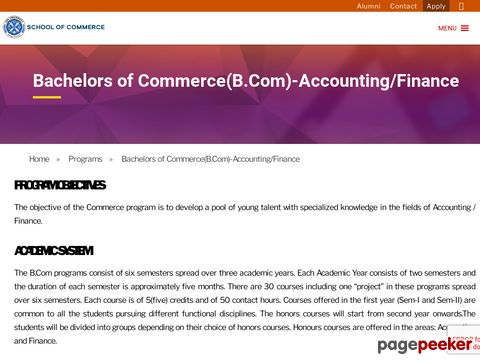Screeshot of bachelor of commerce in business management - Xavier University