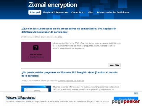 Screeshot of Encrypt Email by ZixmailEncryption.com
