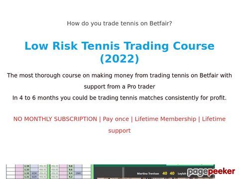 TradeSharkTennis Trading. Make money on Betfair. Strategies and advice. Each Strategy explained.. Tennis Trading System, Profit from Trading Tennis. Sports Trading