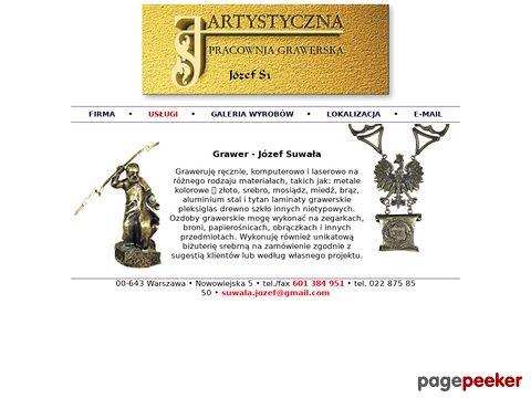 """""""ARTYSTYCZNA PRACOWNIA GRAWERSKA"""" JÓZEF SUWAŁA"""